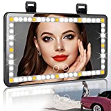 Car Visor Vanity Mirror, BTYIMI LED Lights Mirror for Car Visor Makeup Mirror Rechargeable Battery, Sun Visor Automotive Travel Vanity Mirror Touch Screen 3 Light Mode(Black)