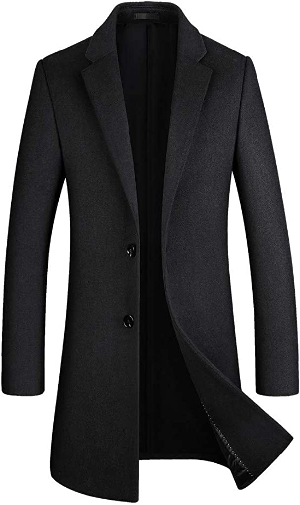 Shanghai Story Men's Mid-Length Single Breasted Wool Blend Top Coat