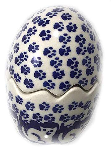 Salt and Pepper Egg Jack's Cat Blue White Polish Pottery