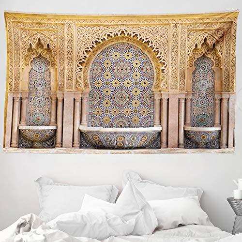 ABAKUHAUS Marroquí Tapiz de Pared y Cubrecama Suave, Fuente Marroquí Típica de Mosaicos en Rabat Cerca de Torre Hassan, Lavable Colores No Destiñen, 230 x 140 cm, Marrón Claro