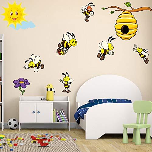 DIY dieren kleur geel bijen muurkunst stickers voor kinderen kleuterschool slaapkamer zelfklevend behang verwijderbare muurstickers wooncultuur
