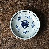 Placa de condimento de cuenco DIP Jingdezhen Estilo chino retro azul y blanco Placa de porcelana Pintado a mano Postre Pequeño Plato Placa de postre Plato de salsa (Color : D)