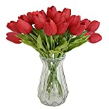 OOTORI 20 pcs PU Real Touch Artificial Tulip Flowers 13.4' for Bouquet Room Centerpiece Flowers Arrangement Home Wedding Party Decor (Red)