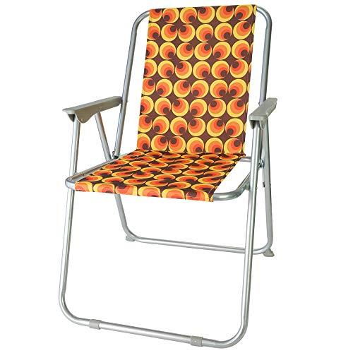 diMio Retro-Design Klappstuhl in 8 trendigen Designs Camping Garten Anglerstuhl 70er Jahre mit Alu-Gestell (Owls)