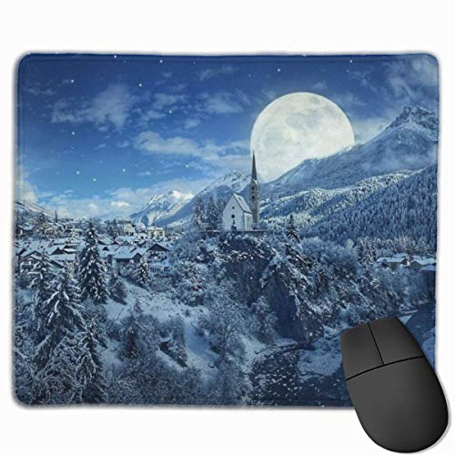 Winter Night Snow Mountains and Moon Alfombrilla de ratón Rectangular Premium para Ordenadores, portátiles, oficinas y hogares (25x30 cm)