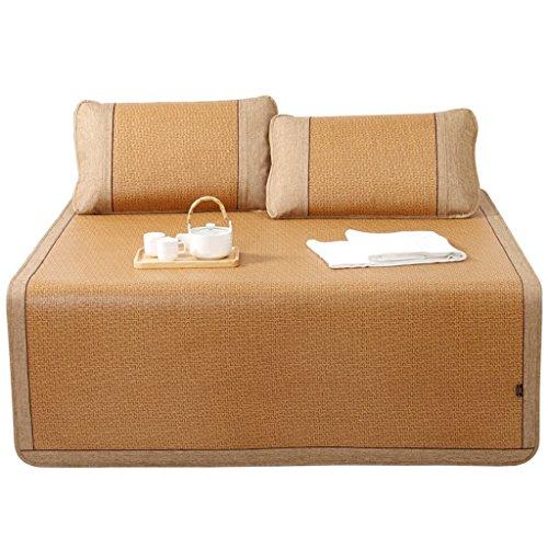 Lit de rotin 1.8m lit trois ensembles de climatisation épaisse naturelle pliant tapis de tapis double de 1,5 mètres doux, confortable et lisse (avec deux taies d'oreiller en rotin) Xuan - worth having ( taille : 150*195cm )