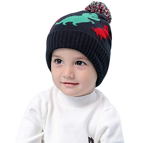 Miyanuby Toddler Kids Winter Dinosaur Printed Earflap Beanie Hat Boy Girl  Warm Pompom Knit Hats for 23464fbd6e0
