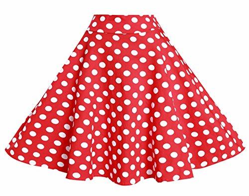 BI.TENCON bi. Tencon Mujeres Vintage Chaqueta Falda Cintura Rockabilly Swing Casual Fiesta Faldas - -