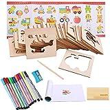Liuer Stencil Plantillas Niños 60PCS Plantillas de Dibujo de Madera para Dibujar Bullet Journal Puntos para Cuaderno Diario Libro de Recuerdos Manualidades