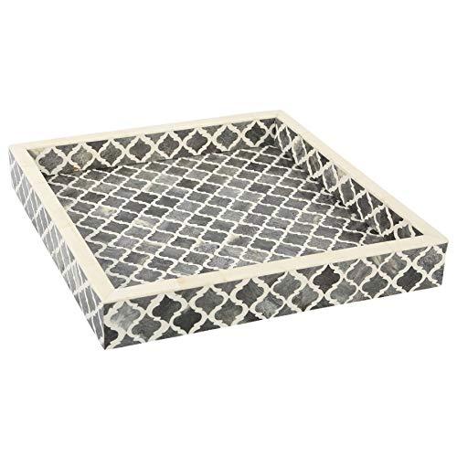 Plateau décoratif - Petit Déjeuner - Dessus de table à café Maure Marocain - Motif fait à la main - 4 feuilles d'incrustation d'os - tout usage, 30,5 x 30,5 cm, Résine, Gris et blanc, 12x12