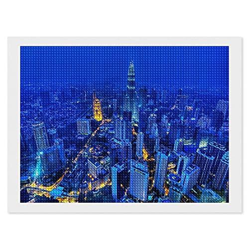 5D-Diamant-Malerei-Set Kuala Lumpur City Night Light White-C-3, 30,5 x 40,6 cm, quadratischer Vollbohrer, 5D-Diamant-Punkte, Bastelset für Heimdekoration & Erwachsene Kinder DIY Geschenk