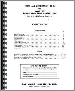 Allis Chalmers HD9 Crawler Garwood 281 Cable Control Parts Manual