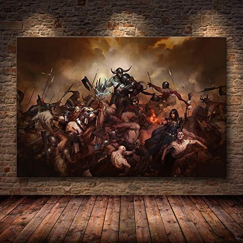yiyiyaya Rahmenlose Wandkunst Dekor Poster Kunstwerke Für Häuser Diablo HD Spiel Dormi Apartment Aufkleber -60 cm X 90 cm (No_Frame) _13