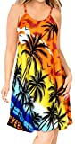 LA LEELA Hawaiano Calabaza Naranja Impresa Likre Playa Hawaiana Vestido de Verano m Calabaza Naranja_Q955