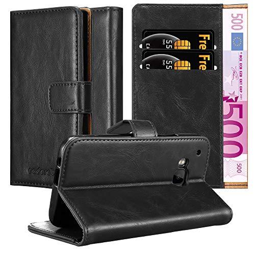 Cadorabo Hülle für HTC One M9 in Graphit SCHWARZ – Handyhülle mit Magnetverschluss, Standfunktion und Kartenfach – Case Cover Schutzhülle Etui Tasche Book Klapp Style