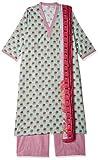 BIBA Women's cotton a line Salwar Suit Set (SKD6498_ Sky Blue_ 36)