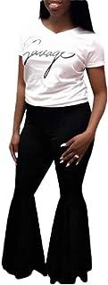 Women Prom Trousers Elastic Waist Ruffle Bell Bottom Pants