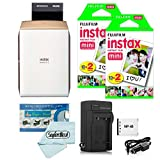 Fujifilm Instax Share SP-2 Smartphone Printer (Gold) + Fujifilm Mini Twin Pack (40 Shots) + Travel Charger & Extra Battery + Cleaning Cloth