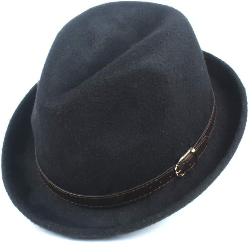 LHZUS Hats Men's Women's Gentleman Wool Polyester Fedora Hat Autumn Winter Casual Hat Jazz Hat Fashion Hat (Color : Coffee, Size : 58CM)