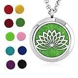 Ciondolo Aromaterapia, Collana Porta Profumo con Diffusore Oli Essenziali, Medaglione Fiore di Loto, diffusore di aromi 10 colori