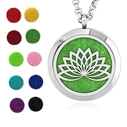 Natuxia Aromatherapy Pendant Essential Oil Necklace Diffuser 20mm (Lotus)
