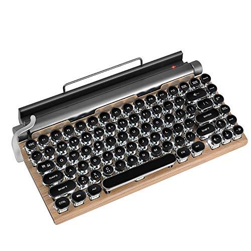 Teclado retro mecánico de madera, teclado inalámbrico de 83 teclas, tableta Steampunk duradera con soporte para teléfono y almohadilla, teclas de máquina de escribir retro compactas para Win10