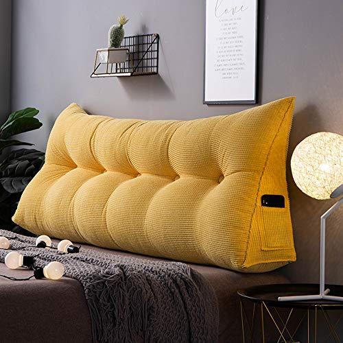 Geling Baumwolle und leinen rechteckig Bett Kopf Kissen,Große dreieckige Sofa rückenlehne,Weiche Tasche Tatami Bett Kissen,Abnehmbaren rückenpolster,I,120×23×50cm/47.2×9×19.7