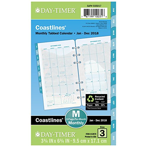 """Day-Timer Refill 2018, Two Page Per Month, January 2018 - December 2018, 3-3/4"""" x 6-3/4"""", Loose Leaf, Portable Size, Coastlines (13970-1801)"""