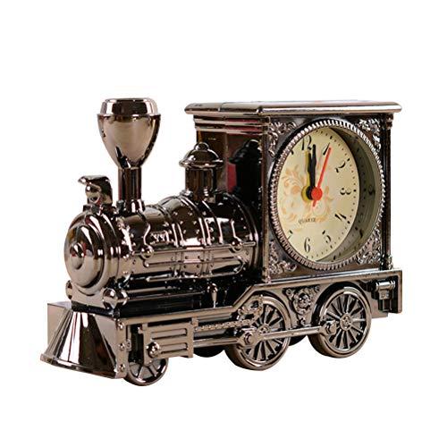 VOSAREA Retro Zug tischuhr Vintage Motor Uhr neuheit lokomotive wecker kreative Desktop Dekoration (grau)