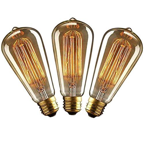 Preisvergleich Produktbild KJLARS 3x Vintage Edison Glühbirne E27 25W ST64 Glühlampe Dimmbar Warmweiß Retro Birne Antike Filament Leuchtmittel Ideal für Nostalgie Beleuchtung