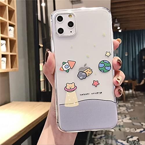 Carcasa de teléfono de Oso Divertido de Dibujos Animados para iPhone 6 6s 7 8 Plus 11 Pro X XS MAX XR INS Lovely Cute Funda Trasera Suave Transparente Coque para 6Plus 6sPlus style2