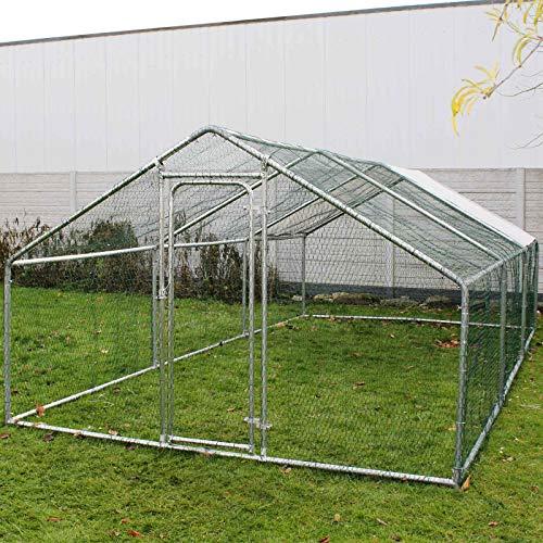 WilTec Enclos extérieur Volière Poulailler Clapier de Lapin Petite Cage pour Animaux 4x3x2m Auvent