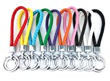 yueton 10pcs Colorful Braided Leather Key Chain Double Keyring Handbags Holder (Not fit for Wrist Use and No Strech)
