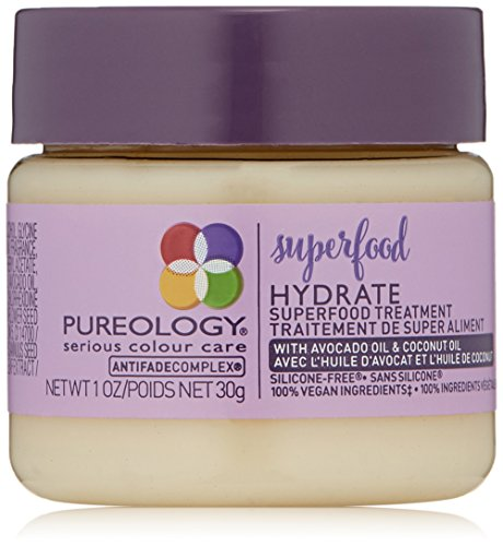 Pureology Hydrate Superfood Treatment Hair Mask | For Dry, Color Treated Hair | Silicone-Free | Vegan | 1.0 oz.