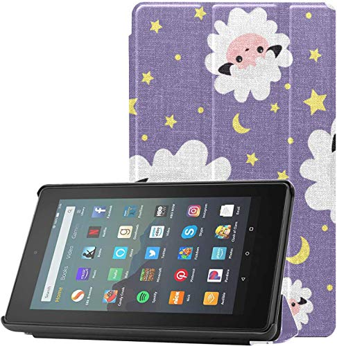Cover Kindle7ScreenProtectorandCase Sheep Shy Warm Cute Animal Fire7CaseandScreenProtector for Fire 7 Tablet (9th Generation, 2019 Release) Lightweight with Auto Sleep/Wake