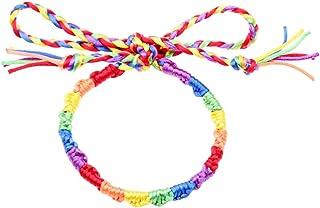 Amosfun Rainbow Rope Bracelet Handmade Weaving Bracelet Hand Jewelry Decor for Men Woman