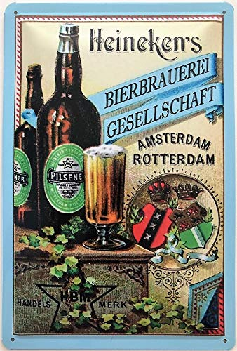 Deko 7 - Cartel de Chapa (30 x 20 cm), diseño con Texto Heineken's Bierbrauerei Amsterdam