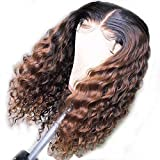 Anmer Fashion Loose Wavy Two Tone Ombre 1B/30 Lace Front Human Hair Wigs for African American Women Brazilian Virgin Hair Two Tone Full Lace Wigs with Pre-plucked Hairline (14', Full Lace Wig)
