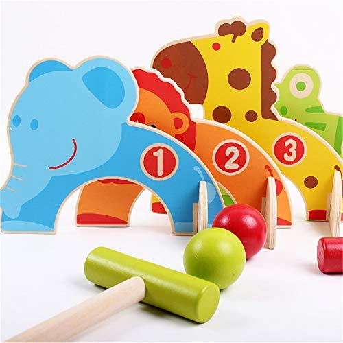 Kleinkindspielzeug Türen Cartoon Tier Krocket Spielzeug Spiel Holz Golf Spielzeug Lustige Outdoor Familie Lernspiele Spielzeug-Golf-Produkte (Farbe, Größe : Einheitsgröße)