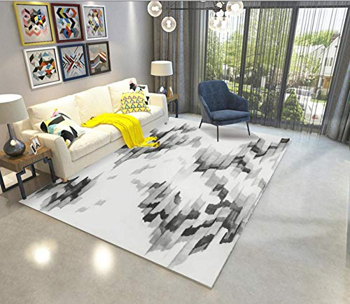 LJN_Home Home DesignerSofa, Couchtisch, Balkon, Bodenmatte, weicher Rutschfester, Abstrakter cremefarbener bedruckter Teppich, 120 × 200 cm