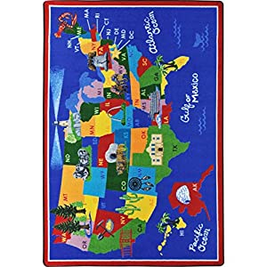 Joy Carpets Kid Essentials Geography & Environment America The Beautiful Rug, Multicolored, 7'8″ x 10'9″