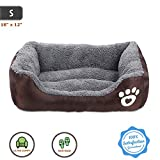Pet Deluxe Dog Bed, Super Soft Pet Sofa Cats Bed, Non Slip Bottom Pet Lounger,Self Warming and Breathable Pet Bed Premium Bedding (S)-Coffee