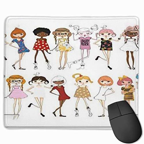 Muismat, bureau-muismat, dodle-groep met verschillende meisjes in mode kleding schetsen tekenstijl vrouwelijke youthmulticolor