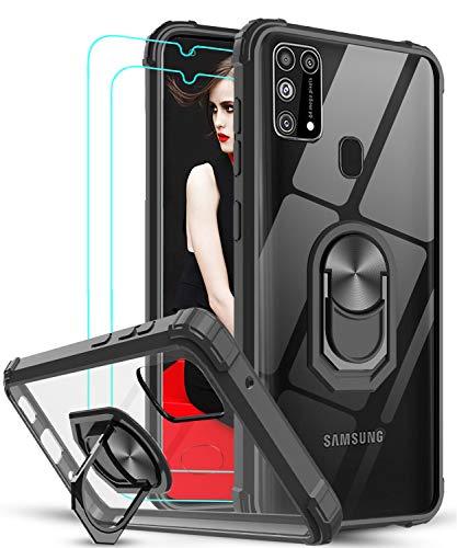 LeYi für Samsung Galaxy M31 Hülle mit Panzerglas Schutzfolie(2 Stück), Ringhalter Schutzhülle Crystal Clear Acryl Cover Air Cushion Bumper Handy Hüllen für Hülle Samsung Galaxy M31 Handyhülle Schwarz