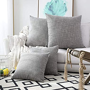 Kevin Textile New 2 Tone Star Faux Linen Pillowcase Decorative Cushion Covers for Bed/Sofa(26 x 26 inch,Grey) Set of 2