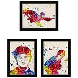 Nacnic Pack de posters para enmarcar 'Harry Potter'. Poster estilo acuarela. Lamina con imágenes de la película 'Harry Potter'. Papel 250 gr Xerox. Tamaño A4