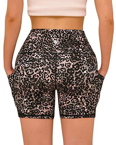 FAFAIR Damen Sportshort Hohe Taille mit Tasche Kurze Hosen Yogahose Leggings Blickdicht Hotpants Pink Leopard Print L