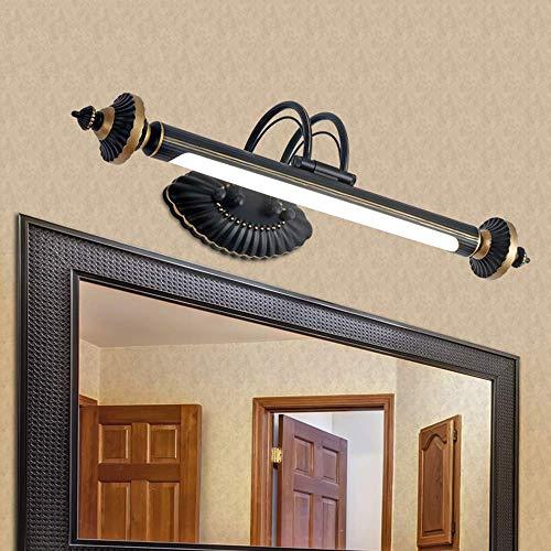 Minimalista Inicio Espejo de baño Baño Faros iluminación de la pared de luz LED Espejo de apliques de pared del baño caliente de la lámpara bombilla blanca Incluye -76Cm-12W, espejo del faro, luz blan
