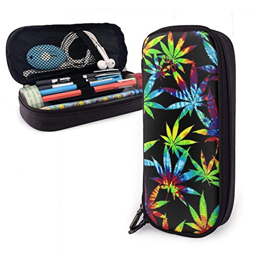 Tie Dye Weed Leaves PU Leather Pencil Case Pen Bag for Boys Girls,High Capactiy Double Zipper Pen Case Box Makeup Pouch Coin Bag