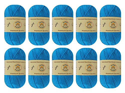 Yonkey Monkey Skein Tencel Yarn - 70% Bamboo, 30% Cotton - Softest Quality Crocheting, Knitting Supplies - Lightweight and Breathable Fabric Threads - 10-Pack Set, 210 Meters (Deep Blue 9056)